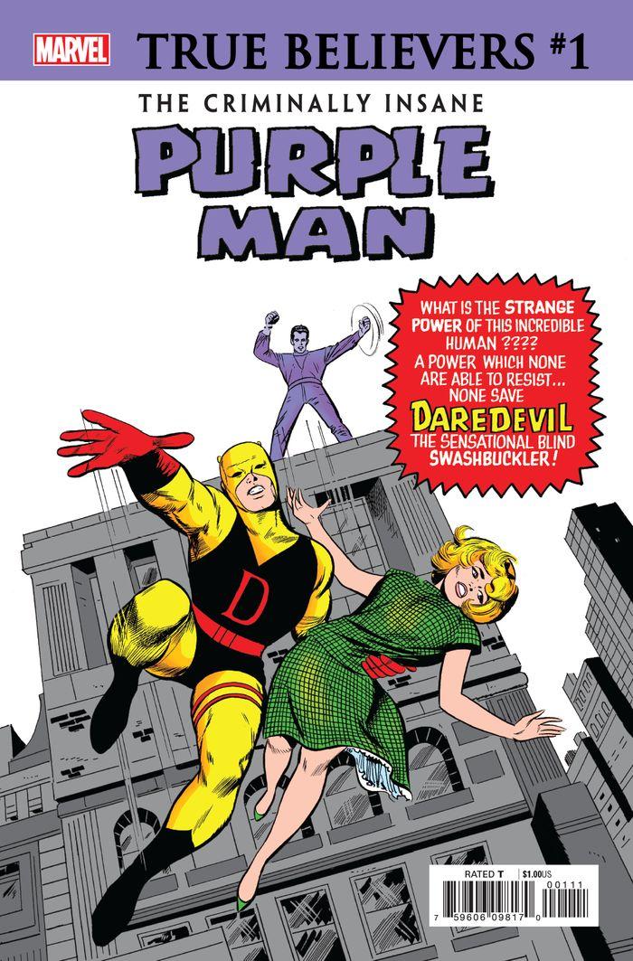 TRUE BELIEVERS CRIMINALLY INSANE PURPLE MAN #1 + 1 Adet Yerli Karton ve Poşet
