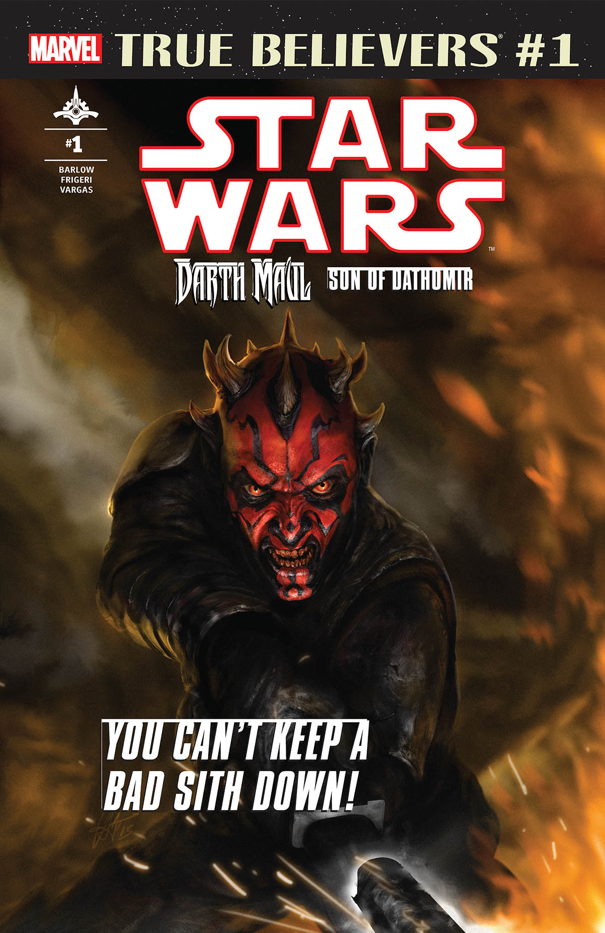 TRUE BELIEVERS STAR WARS DARTH MAUL #1 + 1 Adet Yerli Karton ve Poşet