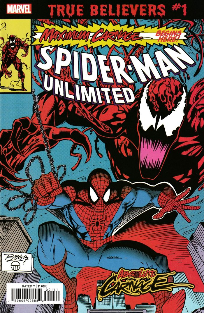 TRUE BELIEVERS ABSOLUTE CARNAGE MAXIMUM CARNAGE #1 + 1 Adet Yerli Karton ve Poşet