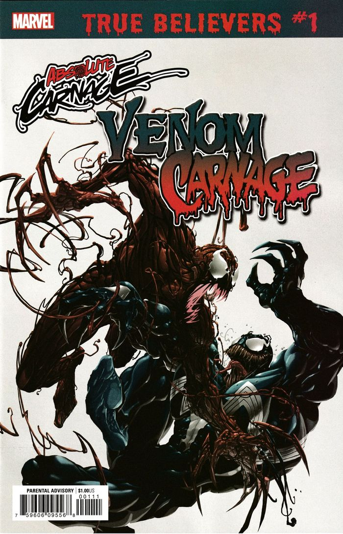 TRUE BELIEVERS ABSOLUTE CARNAGE VENOM VS CARNAGE #1 + 1 Adet Yerli Karton ve Poşet