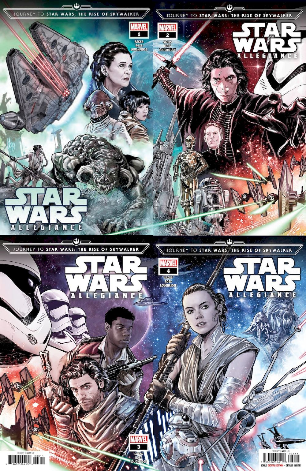 JOURNEY STAR WARS RISE SKYWALKER ALLEGIANCE #1 - #4 SET