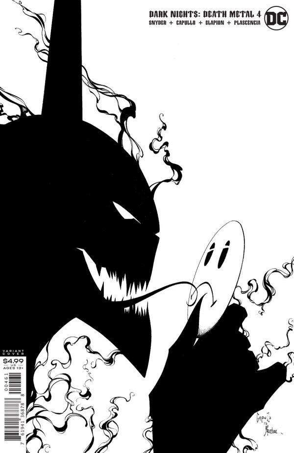 DARK NIGHTS DEATH METAL #4 (OF 7) INC 1:100 GREG CAPULLO & JONATHAN GLAPION BLACK & WHITE VARIANT