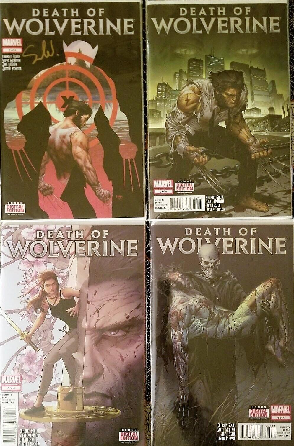 DEATH OF WOLVERINE #1-4 COMPLETE FOIL COVER SET